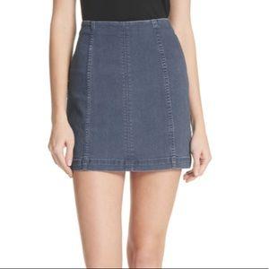 Free People Mid Rise Denim Mini Skirt